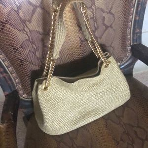Gold and paper straw purse